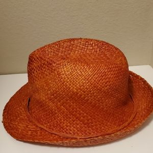Woven Women Orange Hat